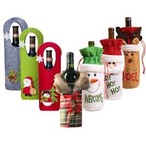 Image 4 - 2021 חדש שנה מתנה סנטה קלאוס יין בקבוק אבק כיסוי חג המולד נואל חג המולד קישוטים לבית Navidad 2020 ארוחת ערב שולחן דקור