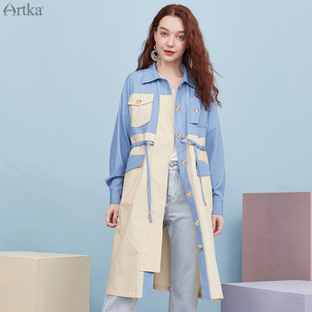 ARTKA 2020 Autumn New Women Trench Coat Fashion  Single-breasted Long Outerwear Jackets Patchwork Women Windbreaker FA25002Q fashion women wool coat plaid classics female loose long single breasted coats 2020 autumn winter jackets trench outerwear