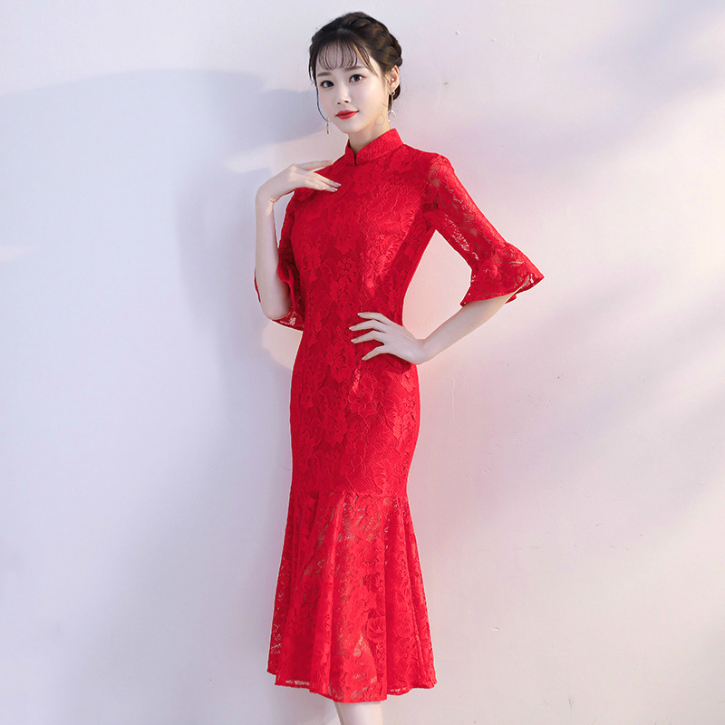 Sheng Coco Ladies Red Lace Mermaid Evening Dresses Cheongsam Qipao Fish Tail Embroidered Chinese Dress Multicolor