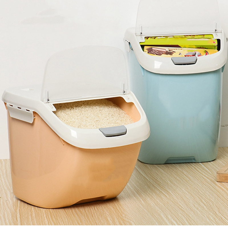 Caixa de armazenamento de arroz selada à prova de umidade grande capacidade de farinha de grão recipiente de cozinha caixa de armazenamento de arroz flip cover cozinha organizar