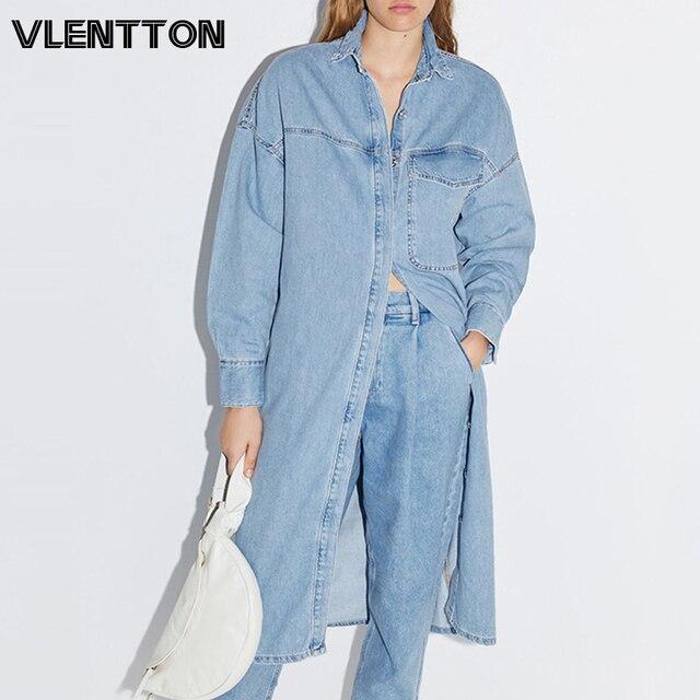 Spring Autumn Women Vintage Blue Long Denim Jackets Solid  Pocket Jeans Coat Female Outwear Tops Casual Loose Cowboy Windbreaker 1