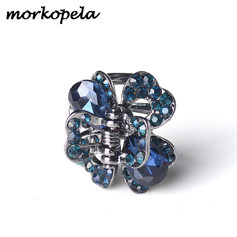 Morkopela Crystal Clover Flower Hair Claw Crab jewelry Fashion Rhinestone Hair Pin Women Hairpin Clip Accessories(China)