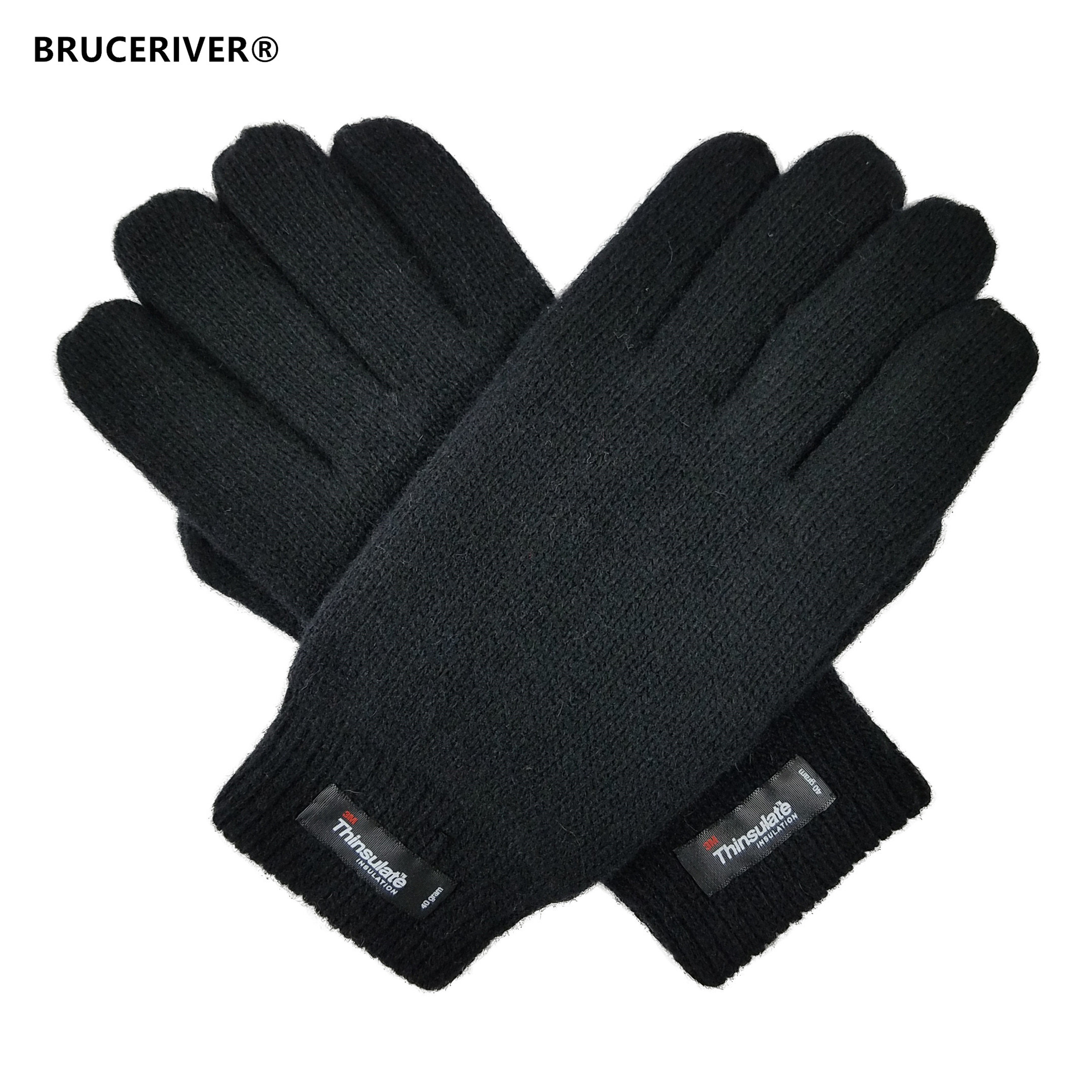 Bruceriver Men's Pure Wool Knitted Gloves with Thinsulate Lining and Elastic Rib Cuff title=