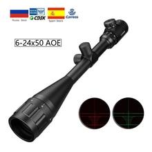 6 24x50 Aoe Riflescope Ajustável Ponto Vermelho Verde Luz Caça Tático Âmbito Retículo Rifle Scope Optical