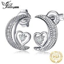 купить JewelryPalace Heart Moon CZ Dangle Drop Earrings 925 Sterling Silver Earrings For Women Korean Earings Fashion Jewelry 2019 дешево