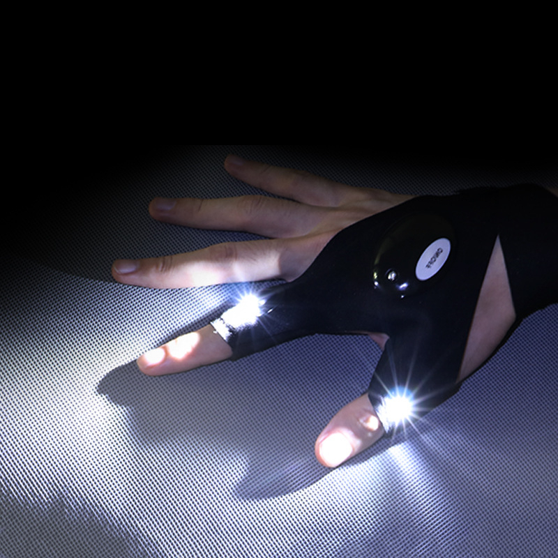 Night Light Waterproof Fishing Gloves with LED Flashlight Rescue Tools Outdoor Gear Cycling Practical Durable Fingerless Gloves