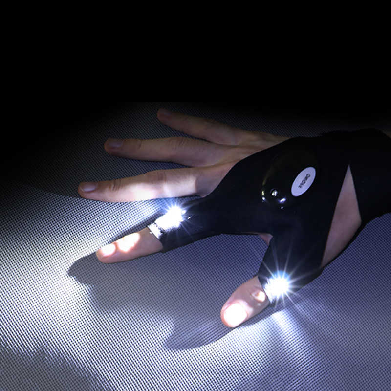 Night Light Waterproof Fishing Gloves with LED Flashlight Rescue Tools Outdo Nmi