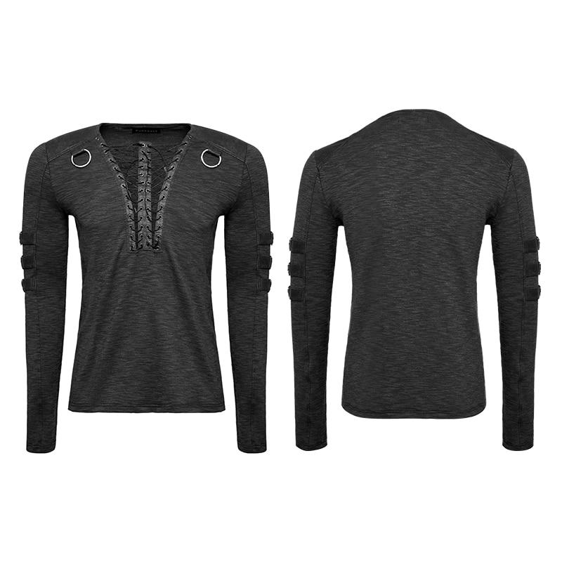 Punk Rave Men's Gothic Steampunk Long Sleeve T shirt Chest Strap Deep V neck Sexy Tops Steampunk Street Cool T shirt - 5