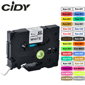 CIDY tze221 9mm Compatible laminated tze 221 Black on white Label Tape tze-221 tz-221 for brother p-touch printer tze-121 transverse impact on viscoelastic laminated plates