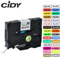 CIDY tze221 9mm Compatible laminated tze 221 Black on white Label Tape tze-221 tz-221 for brother p-touch printer tze-121