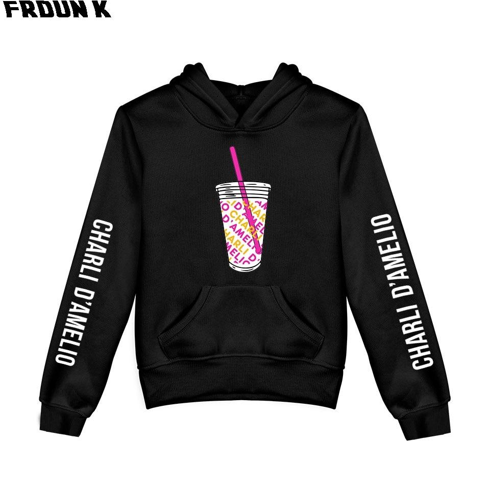 FRDUN TOMMY 2020 Ice Coffee Splatter Kids Hoodie Sweatshirts Boy Girl Charli Damelio Hoodies Pullover Unisex Harajuku Tracksuit