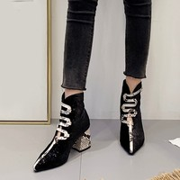 Women's Snake Pattern Ankle Bare Boots Serpentine Pointed Shexy Boots Hollolw Shoes With Square Heel Casual Short Tube Booties