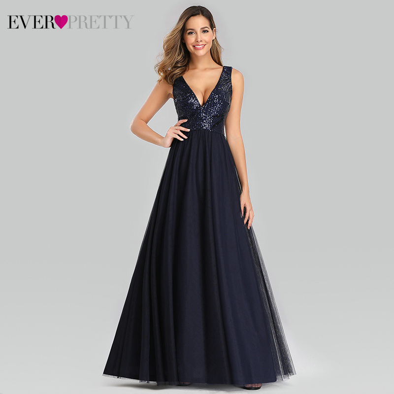 Sexy Navy Blue Evening Dresses Long Ever Pretty Sequined Double V-Neck Women Dresses Formal Evening Party Gowns Abendkleider
