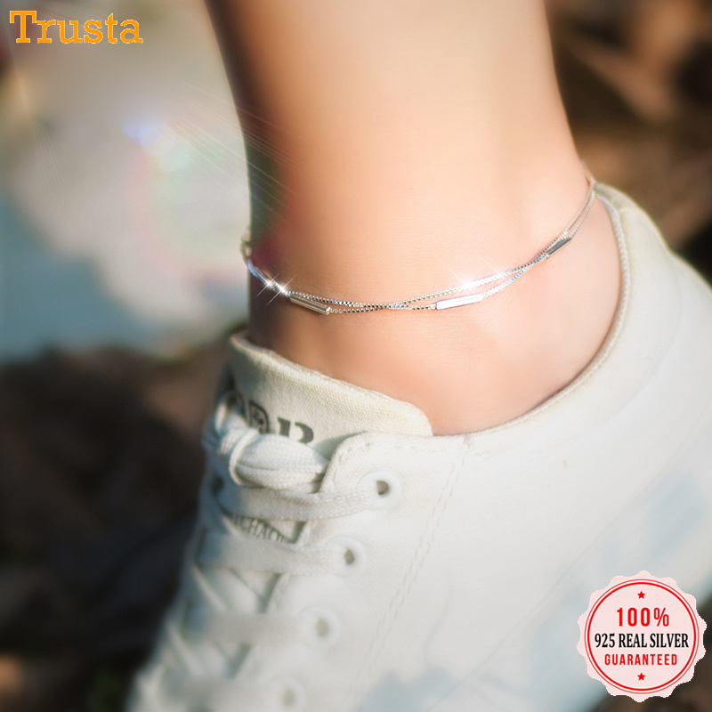 Trustdavis 925 Sterling Silver Fashion Sweet Double Layer Stick Anklets For Women Valentine's Day Birthday Gift Jewelry DS776