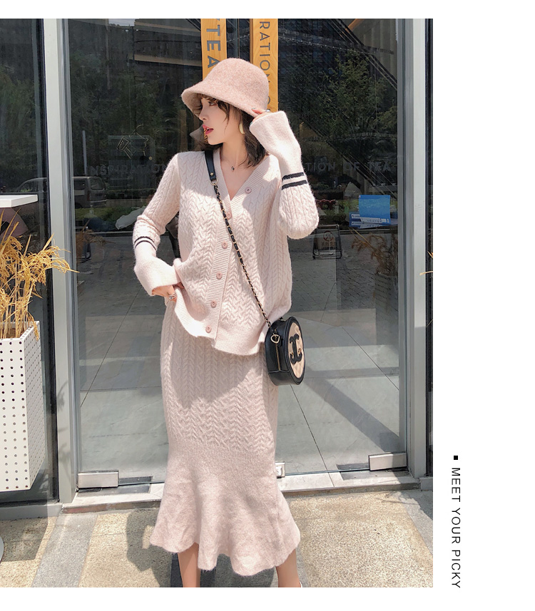 Knitted Women Two Piece Skirt Sets Suits Long Sleeve Cardigan And Mermaid Skirt Outfits Lady Runway Knitting Skirt Suits 2019 42