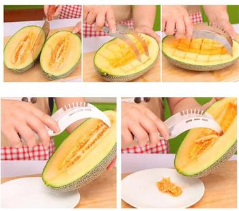1 sztuk ze stali nierdzewnej arbuz krajalnica nóż do wycinania Corer narzędzia do owoców akcesoria kuchenne gadżety arbuz łyżki gadżety domowe tanie i dobre opinie OIMG CN (pochodzenie) Rozdrabniacze i krajalnice CE UE Ekologiczne Na stanie STAINLESS STEEL Watermelon Tools Watermelon Slicer