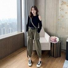 Autumn 2019 New Show-shoulder Long Sleeve T-shirt + Nine-minute Pants Casual Suit