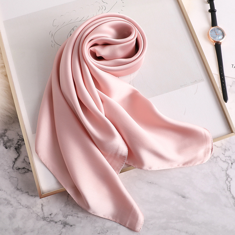 Silk Scarf Square Women Shawls And Wraps Fashion Solider Office Small Hair Neck Hijabs Foulard 2019 Summer Luxury Brand Scarfs