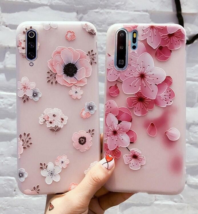 For Xiomi Xiaomi Redmi Note 9 9S 8T 8 7 Pro Max Case Cover For Xiaomi Mi 9T A3 10 Note 10 Lite Pro Redmi 8 7a 9 Pink Flower Case(China)