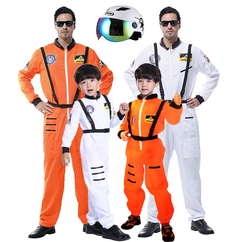 Baby Kids Adult Astronaut Costume Space Suit Pilots Jumpsuit Party Purim Carnival Cosplay Outfit Helmet For Men Boy