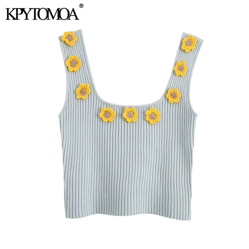KPYTOMOA Women 2020 Sweet Fashion Floral Appliques Cropped Knitted Vest Sweater Vintage Sleeveless Female Pullovers Chic Tops