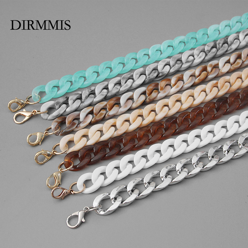 New Fashion Woman Handbag Accessory Chain Detachable Replacement Brown Beige Green White Strap Women DIY Clutch Resin Chain