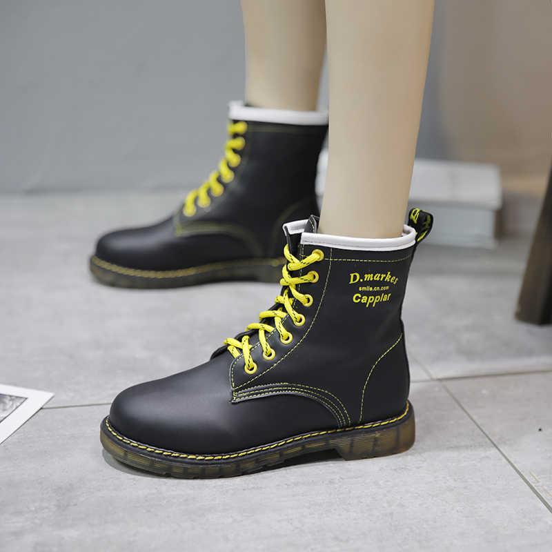 Botas de Invierno para mujer 2019 nueva moda zapatos de cuero amarillo con cordones cruzados Martin botas mujer