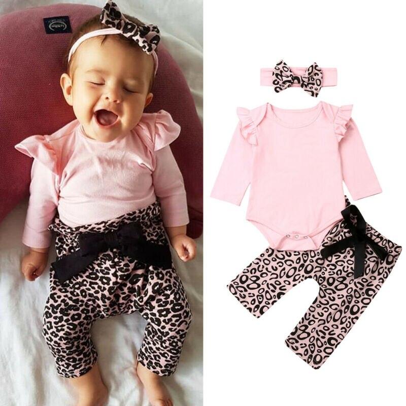 2019 otoño recién nacido bebé Niñas Ropa de Color sólido Tops de manga larga + Pantalones de leopardo Bowknot + conjunto de diadema encantadora