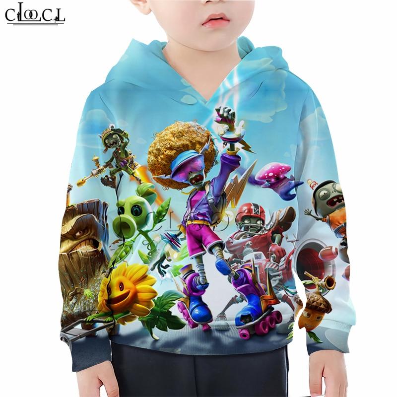 Plants Vs Zombies Printed T Shirts Boy Girl Sweatshirt Kids Games Peashooter 3D Print Hoodies Children's Baby Casual Shorts Suit