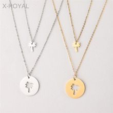 X-ROYAL Double Layers Hollow Coconut Tree Pattern Pendant Choker Necklaces Women Stainless Steel European Style Charm Necklaces simple style coconut tree freehand sketching pattern pillowcase