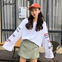 Jielur Autumn long Sleeve T-shirts Womens Korean Loose Harajuku Simple O-neck Female T-shirt Fashion Black White Tops Girl