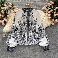 2021 primavera nuova moda temperamento camicetta femminile Retro stampa vita foglia di loto pendolo Blusa camicia manica a sbuffo GL026