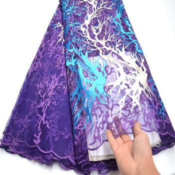 Purple Nigerian Lace Fabric with sequins best selling african Lace Fabric for women dress mv364