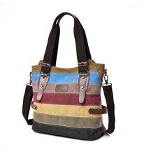 Женская сумка с холст хит-цветные 2020 один плеча косой сумка корейский цвет полосатый сумки ретро шить