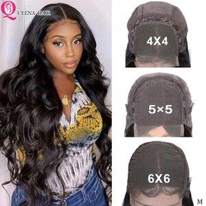 6x6 парики на шнурках объемные волнистые человеческие волосы парик бразильский 4x 4/5x5 бесклеевая передача фронта шнурка парики для черных жен...