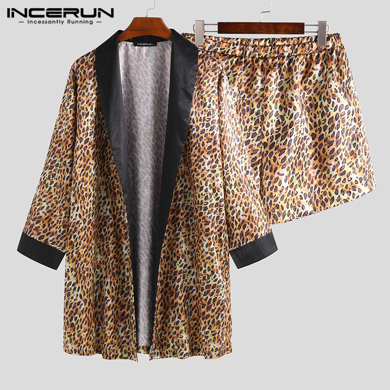 INCERUN Fashion Men's Leopard New Print Long Sleeve Robe Pajamas Loose Casual Personality Men's Pajamas 2019 Comfortable Set 5XL