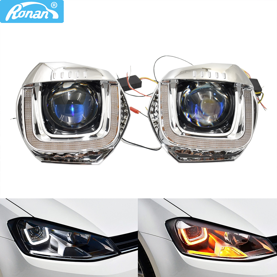 Ronan High Configuration Car Headlight Retrofit Parts For 2013 Golf 7 Original Upgrade LED DRL Use 3r G5  Q5 Projector Lens