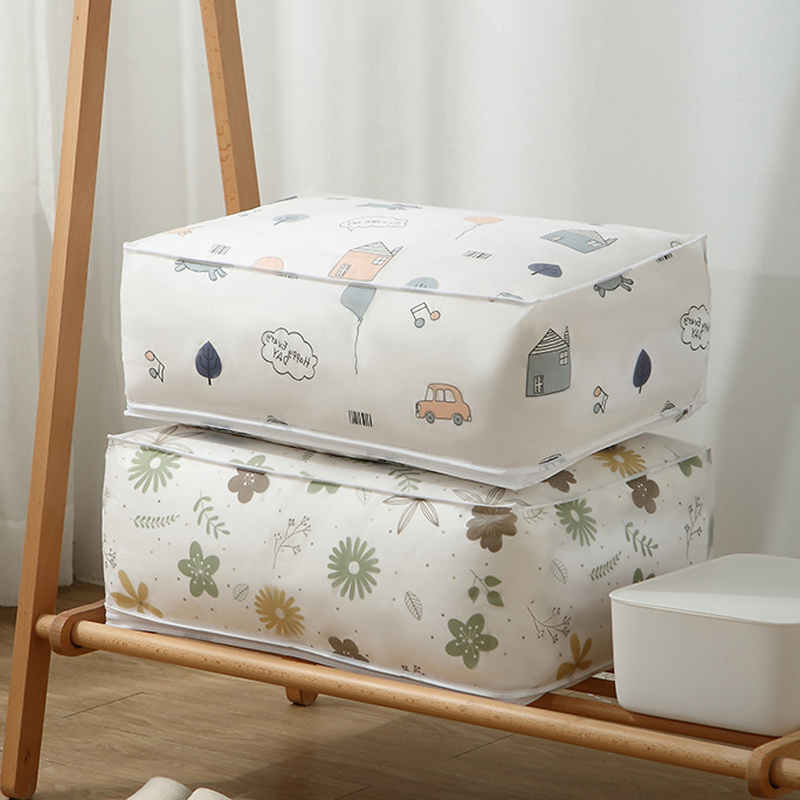 Printed Quilt Storage Bag Portable Clothes Storage Bag Organizer Save Space Organizer for Pillow Blanket Quilt Bag Washable
