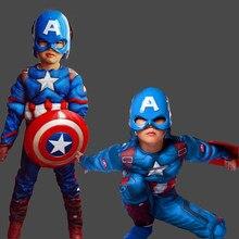 Super herói crianças músculo capitão américa traje criança cosplay super herói trajes de halloween para crianças meninos meninas S-XL