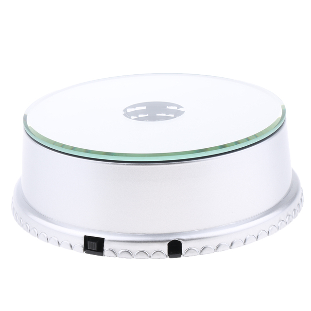 LED Mirrored Display Base Electric Rotating Turntable Phones Bags Show Stand for Camera Phone Digital Product