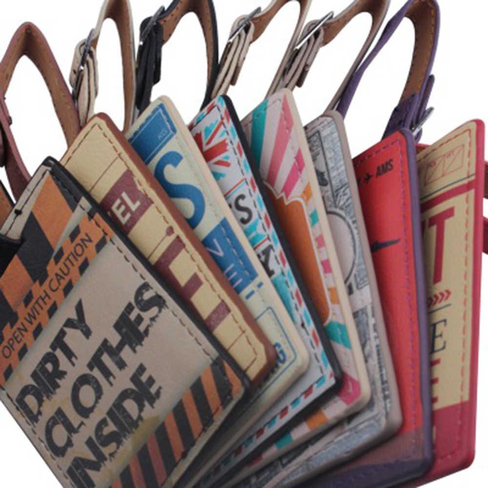 Phụ Kiện Du Lịch Sáng Tạo Da Hành Lý Nội Trú Các Thẻ Retro Thẻ Hành Lý Thư Vali ID Addres Giá Đỡ Di Động Nhãn