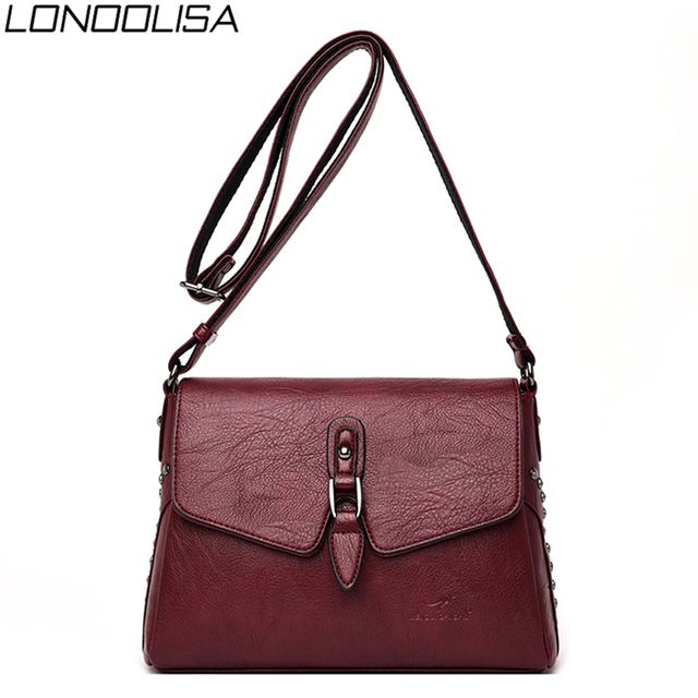 Vintage Women Rivet Shoulder Bags Luxury Soft Leather Handbags Women Bags 2020