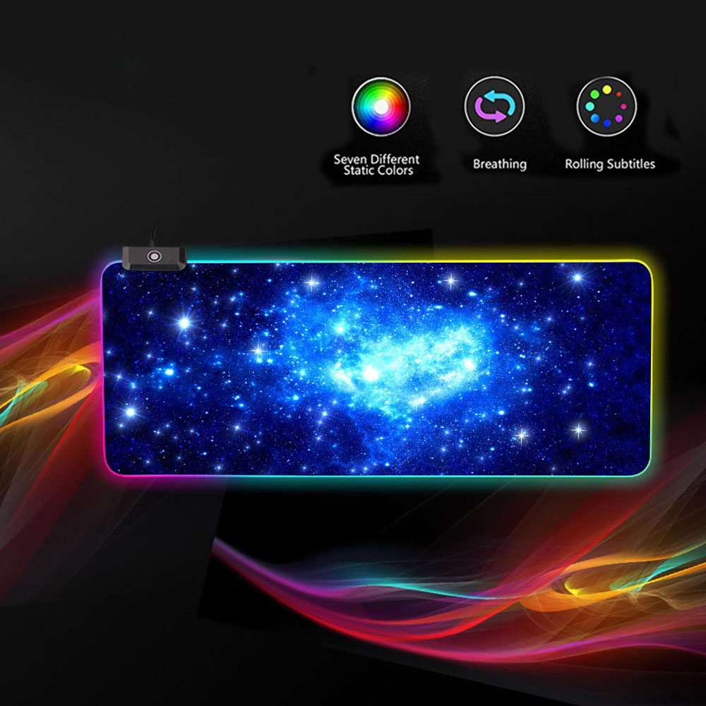 Vococal <font><b>800</b></font> x <font><b>300</b></font> x 4mm Large RGB Star Mouse Pad USB Wired LED Lighting Gaming Mousepad for Overwatch Lol Dota 2 Laptop Mice Mat image