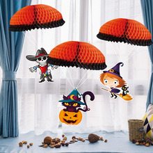 2019 New 1 set Halloween Paper Parachute  Hangers Skeleton Cat Witch Style Decoration Prop Party Supplies