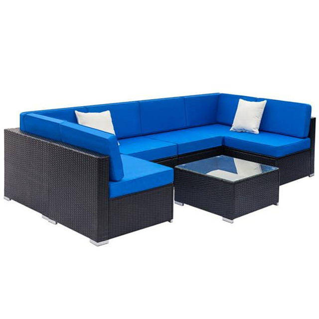 Weaving Rattan Sofa Set with 2pcs Middle Sofas &1 pc Coffee Table Black Embossed 2