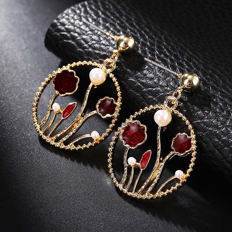 <font><b>Statement</b></font> Jewelry Gold Metal <font><b>Earrings</b></font> <font><b>For</b></font> <font><b>Women</b></font> Round Geometric Crystal <font><b>Flower</b></font> <font><b>Earrings</b></font> <font><b>2019</b></font> New Classical Vintage Brincos image