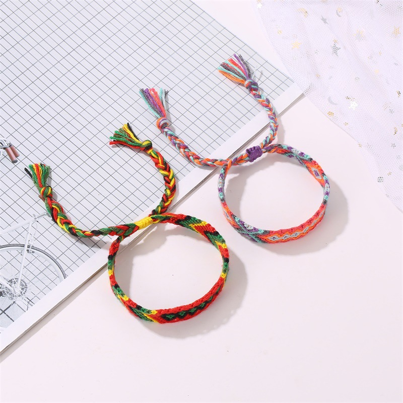 10 Mix Color Ethnic Handmade Elastric Thread Braid Bracelet Vintage Boho Color String Woven Charm Friendship Ankle Foot Jewelry