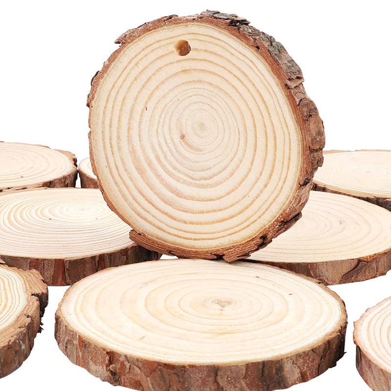 5 pçs sortidas tamanho inacabado natural round madeira fatias círculos com casca de árvore log discos para diy artesanato festa de casamento decoração