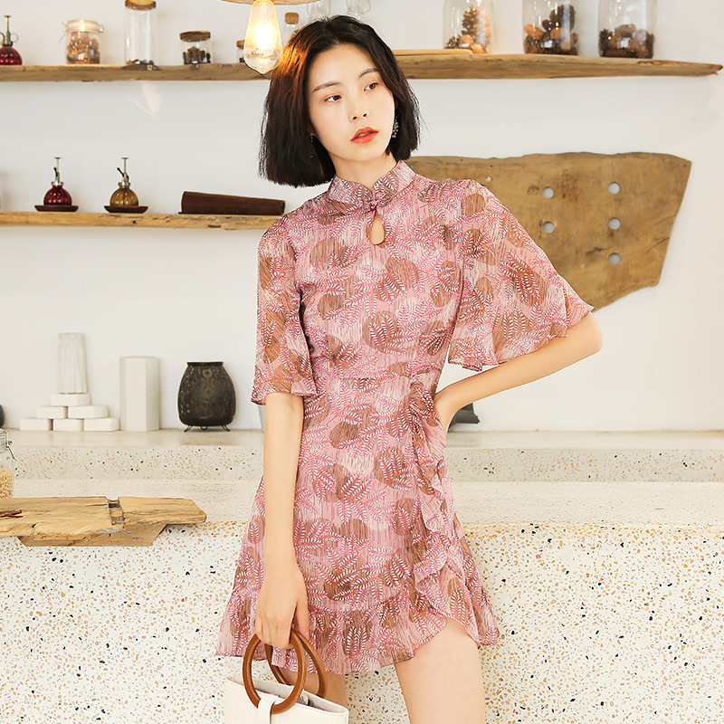 Manufacturers Direct Selling GIRL'S Dress Summer New Style Daily Life Improved Chinese-style New Nian Qing Kuan Cheongsam 19316