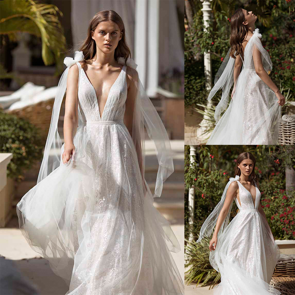 2020 Wedding Dresses Deep V Neck Lace Appliques Beach Bridal Gowns Sexy Backless Sweep Train A Line Wedding Dress